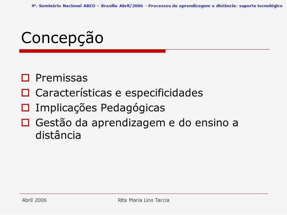 4 o. Seminário Nacional ABED – Brasília Abril/2006 - Processos de aprendizagem a distância: suporte tecnológico Abril 2006Rita Maria Lino Tarcia Conce