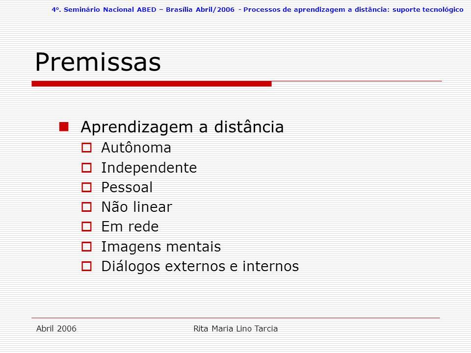 4 o. Seminário Nacional ABED – Brasília Abril/2006 - Processos de aprendizagem a distância: suporte tecnológico Abril 2006Rita Maria Lino Tarcia Premi