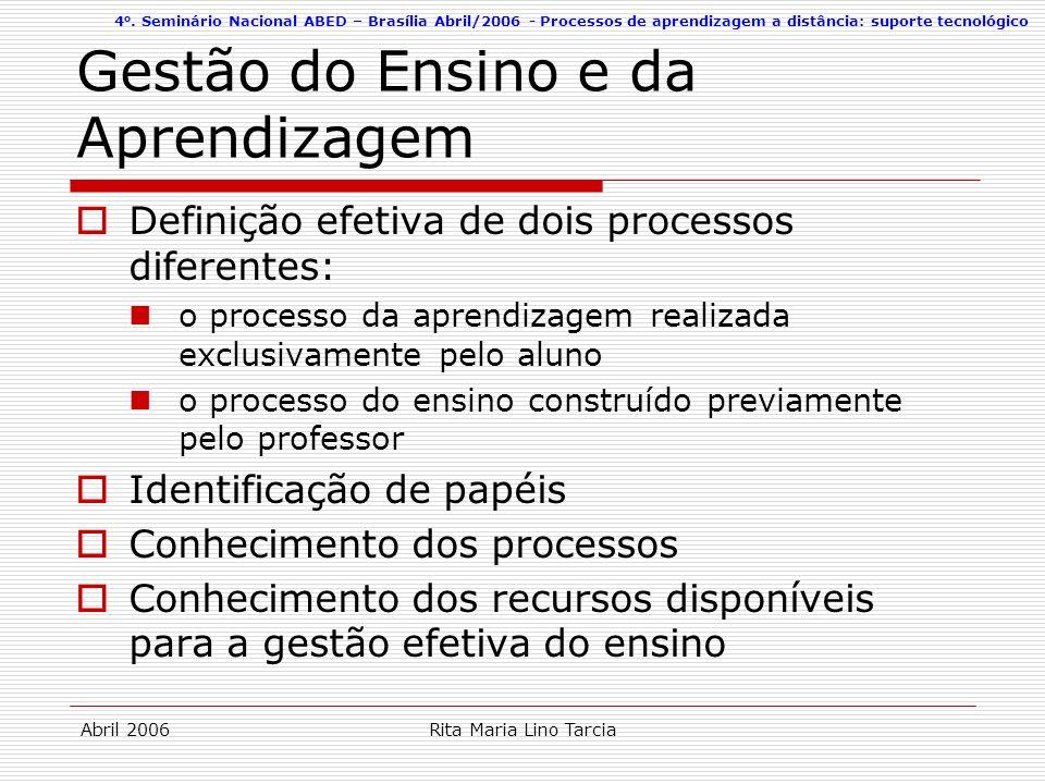 4 o. Seminário Nacional ABED – Brasília Abril/2006 - Processos de aprendizagem a distância: suporte tecnológico Abril 2006Rita Maria Lino Tarcia Gestã