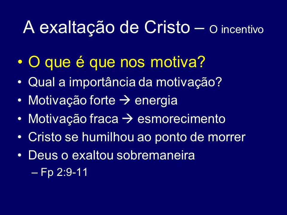 A exaltação de Cristo – O incentivo O que é que nos motiva? Qual a importância da motivação? Motivação forte energia Motivação fraca esmorecimento Cri