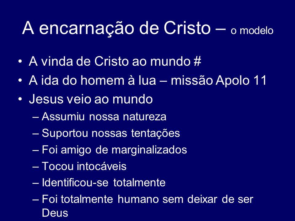A encarnação de Cristo – o modelo A vinda de Cristo ao mundo # A ida do homem à lua – missão Apolo 11 Jesus veio ao mundo –Assumiu nossa natureza –Sup