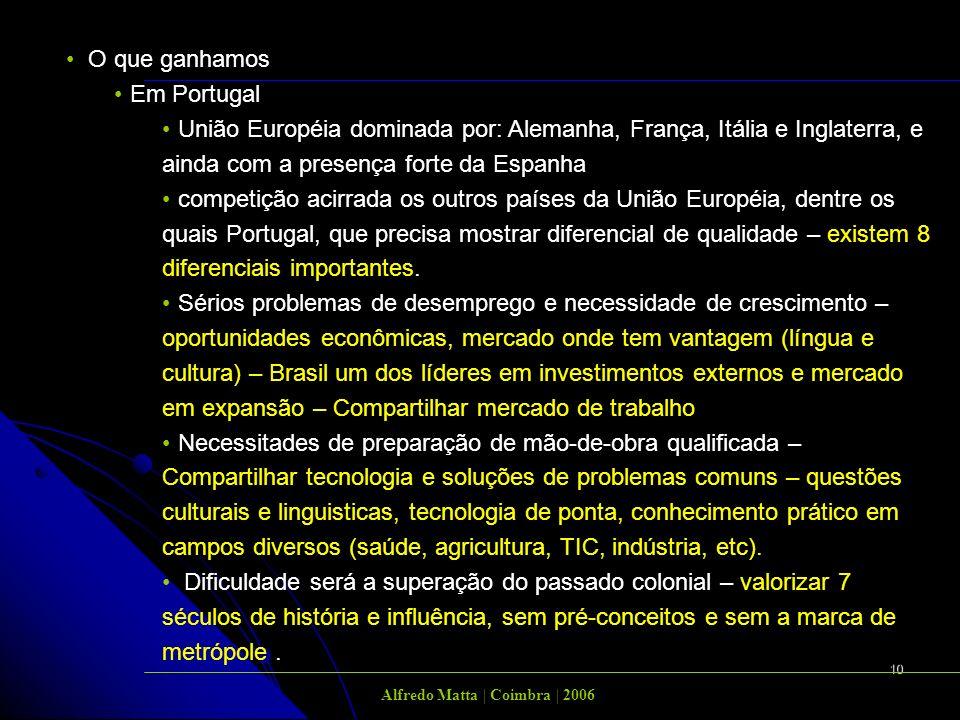 10 O que ganhamos Em Portugal União Européia dominada por: Alemanha, França, Itália e Inglaterra, e ainda com a presença forte da Espanha competição acirrada os outros países da União Européia, dentre os quais Portugal, que precisa mostrar diferencial de qualidade – existem 8 diferenciais importantes.