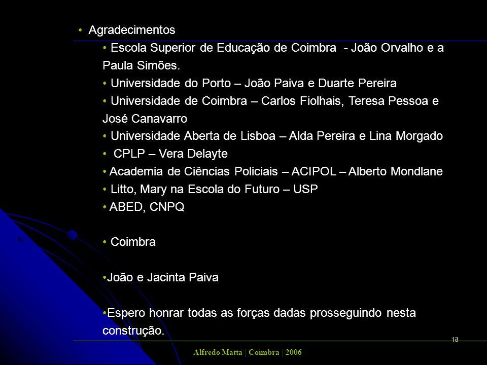 18 Agradecimentos Escola Superior de Educação de Coimbra - João Orvalho e a Paula Simões. Universidade do Porto – João Paiva e Duarte Pereira Universi