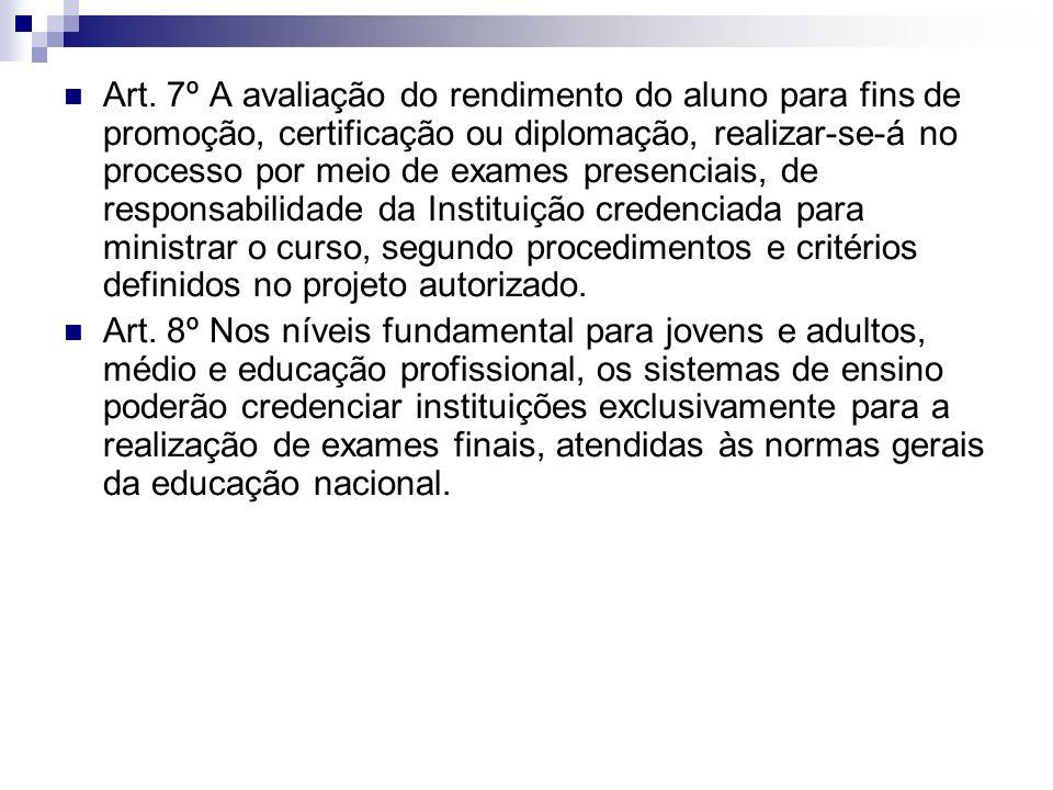 Art. 7º A avaliação do rendimento do aluno para fins de promoção, certificação ou diplomação, realizar-se-á no processo por meio de exames presenciais