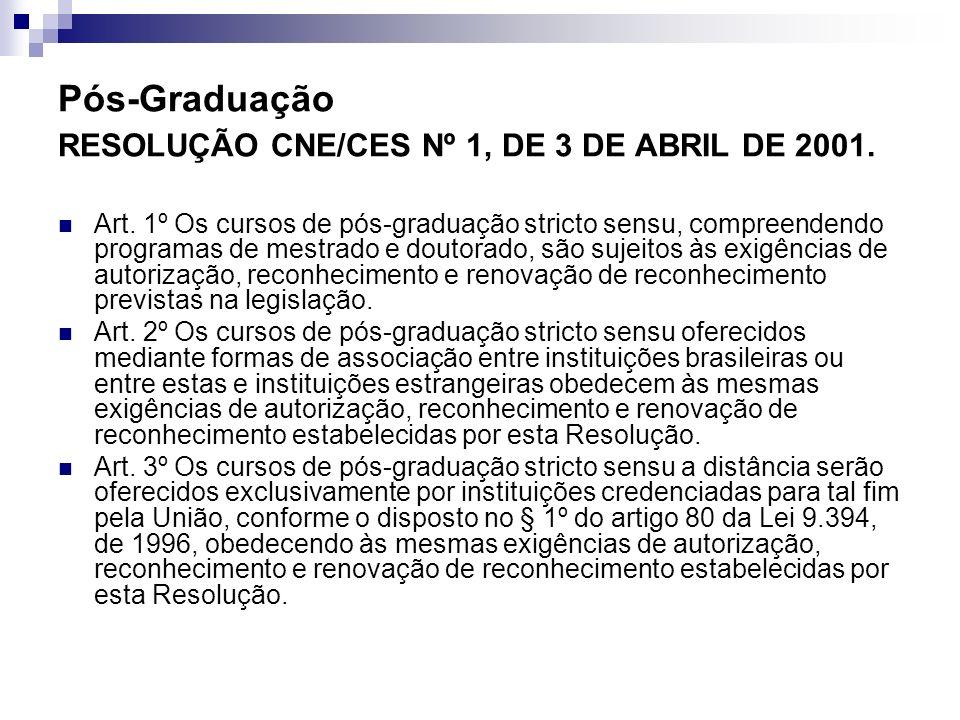Pós-Graduação RESOLUÇÃO CNE/CES Nº 1, DE 3 DE ABRIL DE 2001. Art. 1º Os cursos de pós-graduação stricto sensu, compreendendo programas de mestrado e d