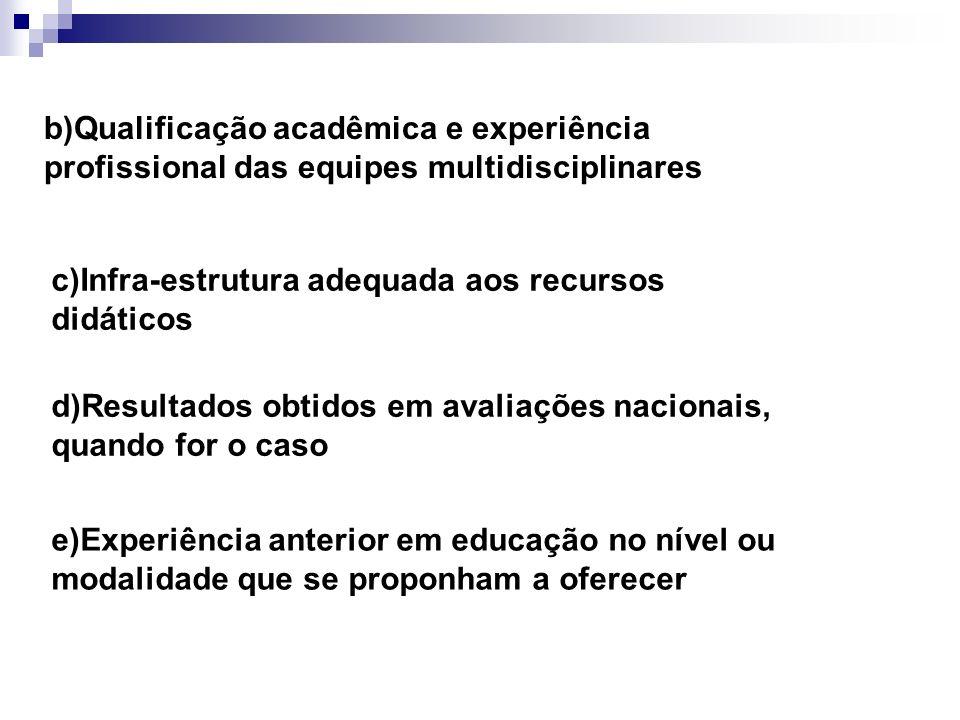 b)Qualificação acadêmica e experiência profissional das equipes multidisciplinares c)Infra-estrutura adequada aos recursos didáticos d)Resultados obti