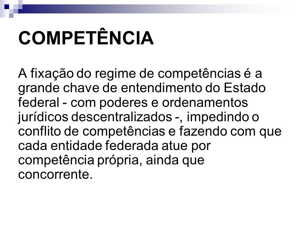COMPETÊNCIA A fixação do regime de competências é a grande chave de entendimento do Estado federal - com poderes e ordenamentos jurídicos descentraliz