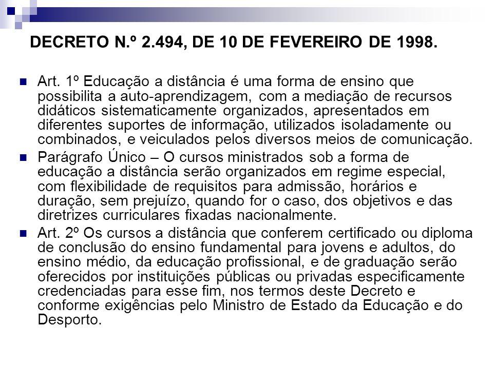 DECRETO N.º 2.494, DE 10 DE FEVEREIRO DE 1998. Art. 1º Educação a distância é uma forma de ensino que possibilita a auto-aprendizagem, com a mediação