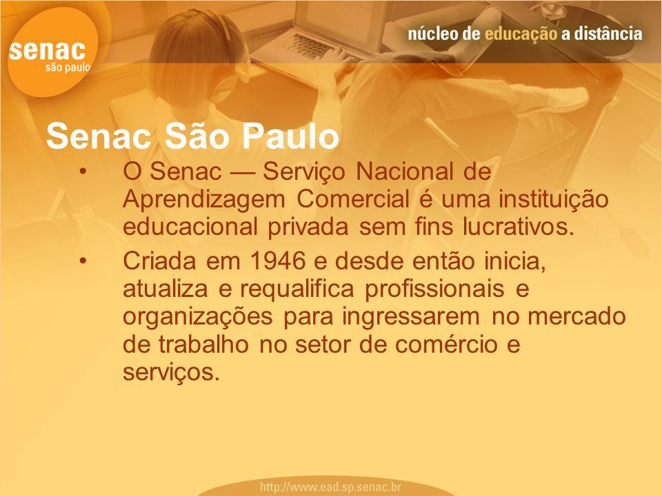 O Senac Serviço Nacional de Aprendizagem Comercial é uma instituição educacional privada sem fins lucrativos. Criada em 1946 e desde então inicia, atu