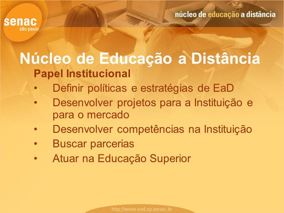 Núcleo de Educação a Distância Papel Institucional Definir políticas e estratégias de EaD Desenvolver projetos para a Instituição e para o mercado Des