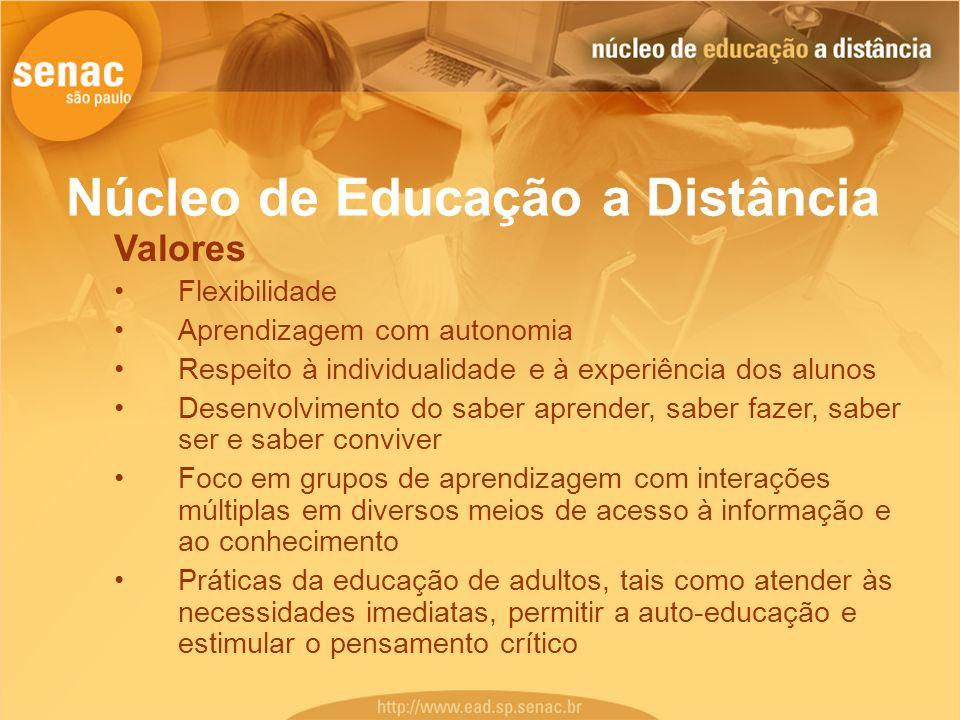 Núcleo de Educação a Distância Valores Flexibilidade Aprendizagem com autonomia Respeito à individualidade e à experiência dos alunos Desenvolvimento