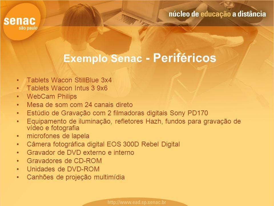 Exemplo Senac - Periféricos Tablets Wacon StillBlue 3x4 Tablets Wacon Intus 3 9x6 WebCam Philips Mesa de som com 24 canais direto Estúdio de Gravação