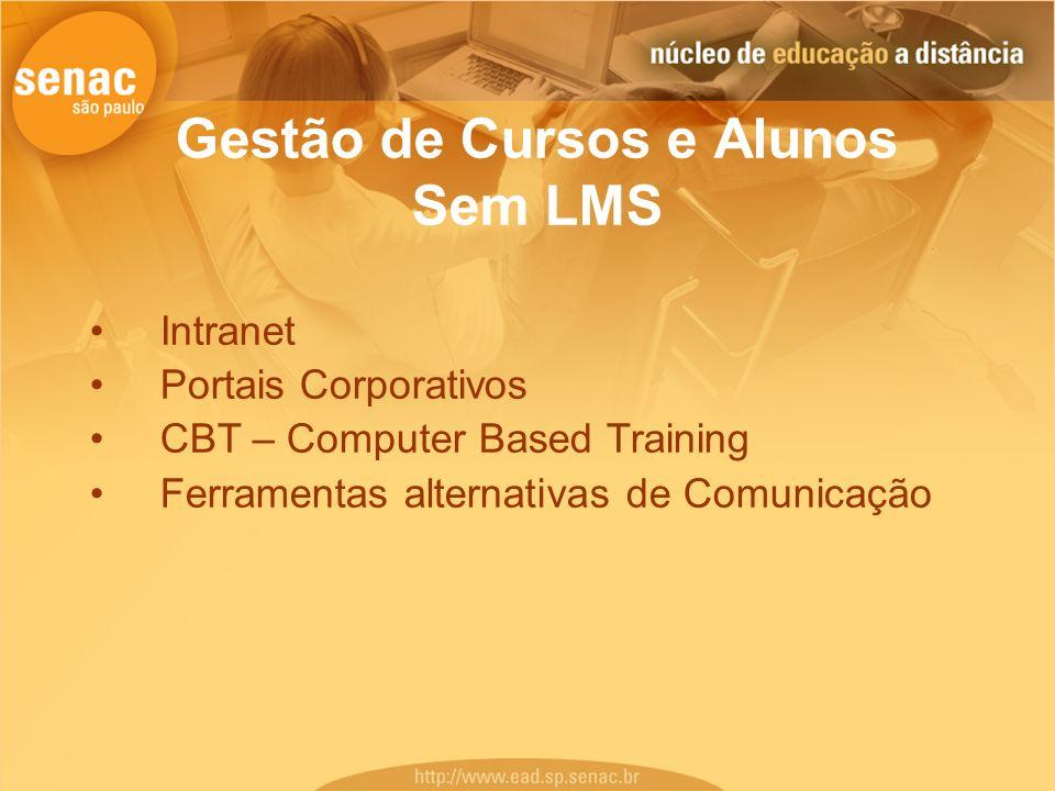Gestão de Cursos e Alunos Sem LMS Intranet Portais Corporativos CBT – Computer Based Training Ferramentas alternativas de Comunicação