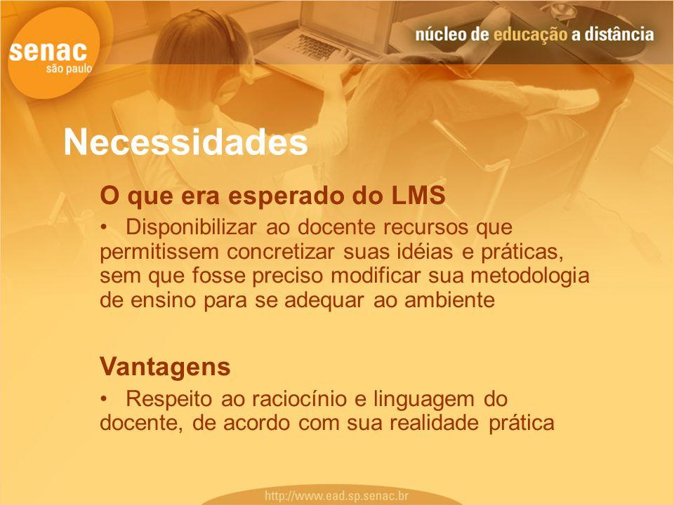Necessidades O que era esperado do LMS Disponibilizar ao docente recursos que permitissem concretizar suas idéias e práticas, sem que fosse preciso mo
