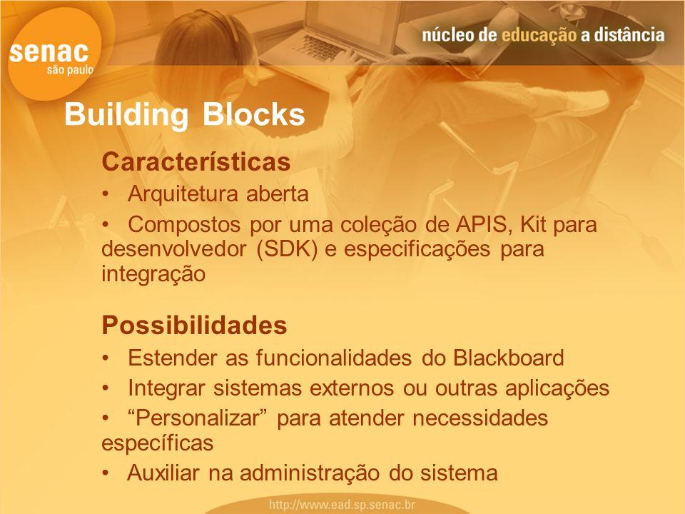 Building Blocks Características Arquitetura aberta Compostos por uma coleção de APIS, Kit para desenvolvedor (SDK) e especificações para integração Po