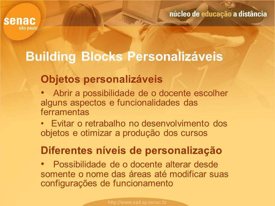 Building Blocks Personalizáveis Objetos personalizáveis Abrir a possibilidade de o docente escolher alguns aspectos e funcionalidades das ferramentas