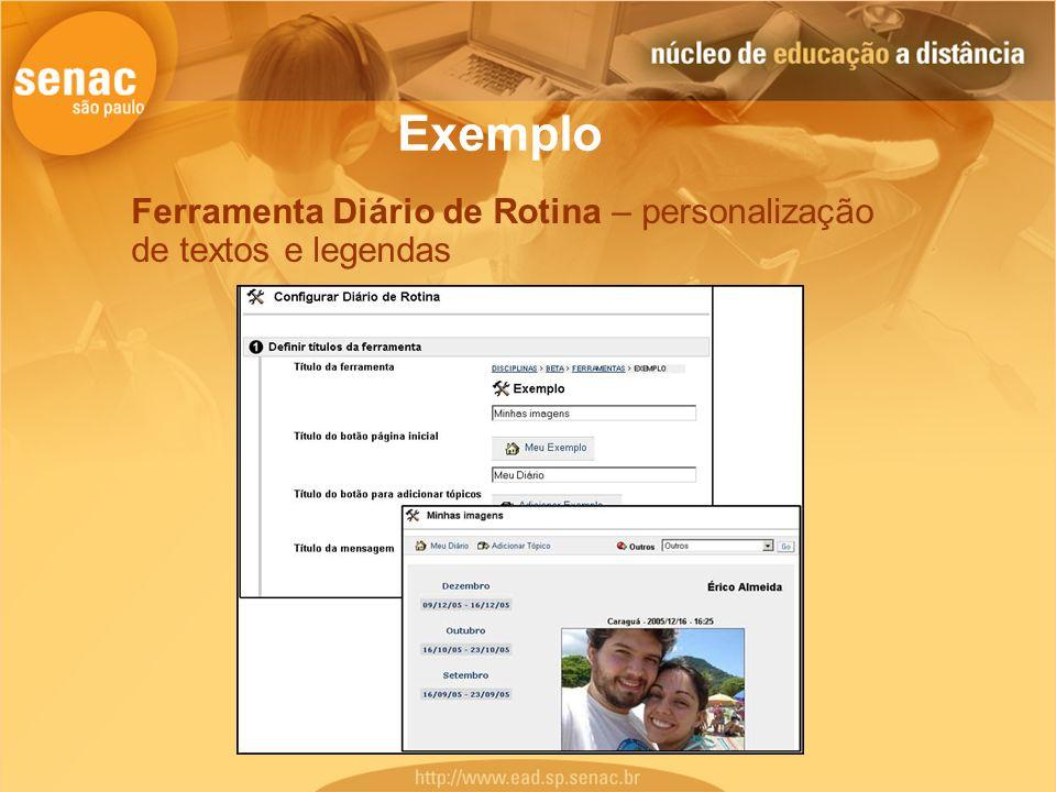 Exemplo Ferramenta Diário de Rotina – personalização de textos e legendas