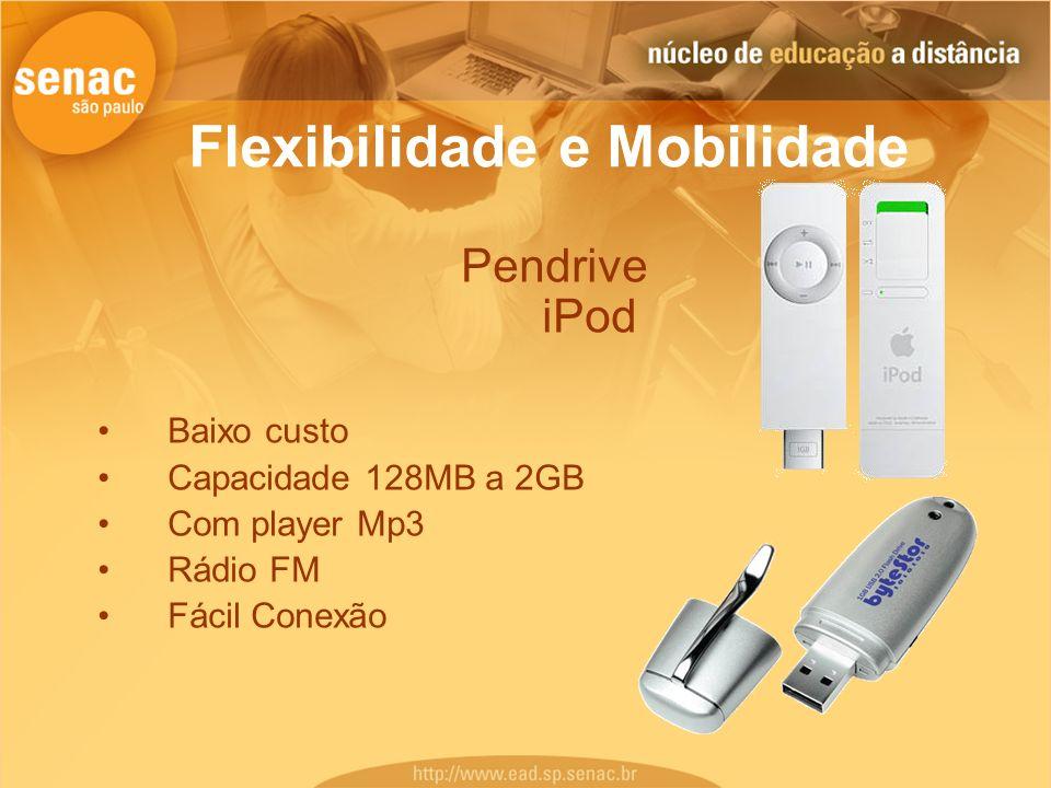 Flexibilidade e Mobilidade Pendrive iPod Baixo custo Capacidade 128MB a 2GB Com player Mp3 Rádio FM Fácil Conexão