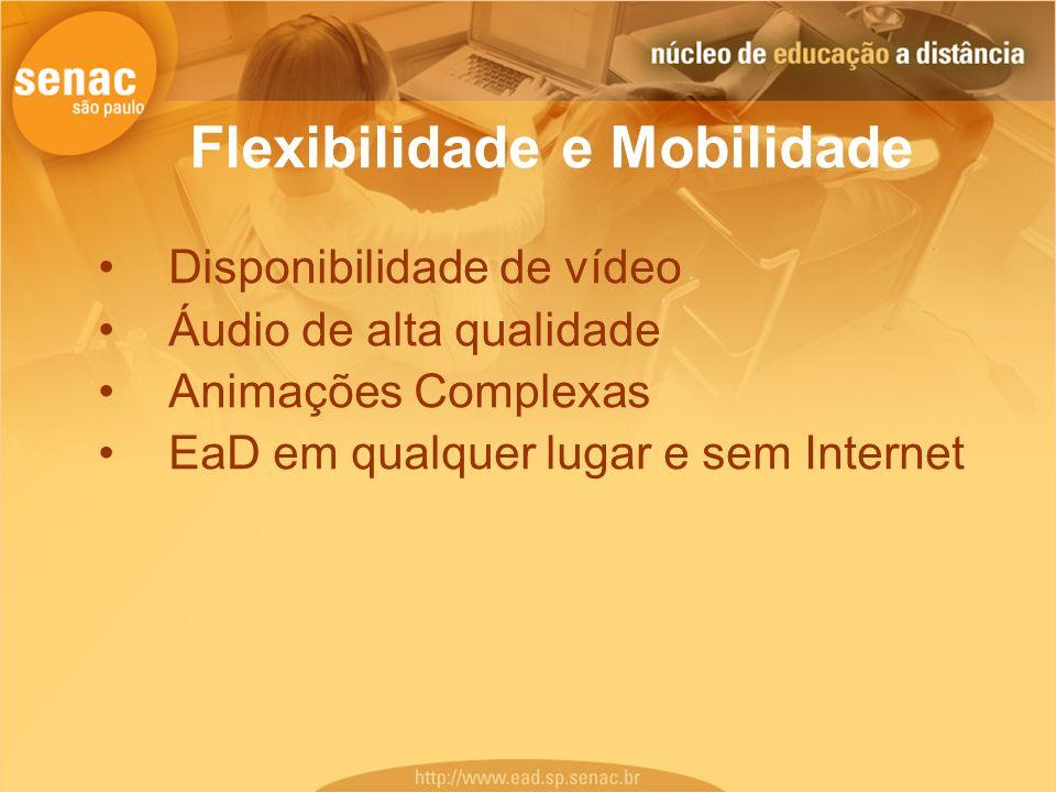 Flexibilidade e Mobilidade Disponibilidade de vídeo Áudio de alta qualidade Animações Complexas EaD em qualquer lugar e sem Internet