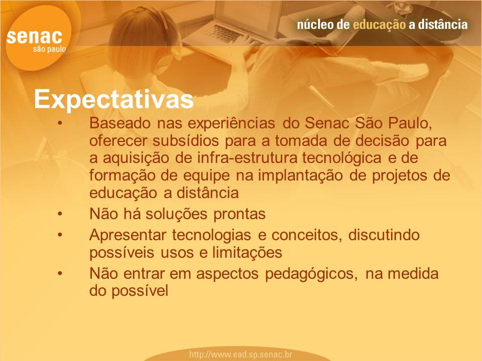 Expectativas Baseado nas experiências do Senac São Paulo, oferecer subsídios para a tomada de decisão para a aquisição de infra-estrutura tecnológica