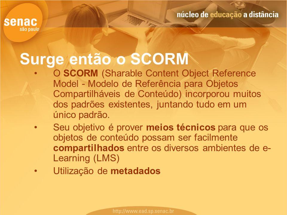 Surge então o SCORM O SCORM (Sharable Content Object Reference Model - Modelo de Referência para Objetos Compartilháveis de Conteúdo) incorporou muito