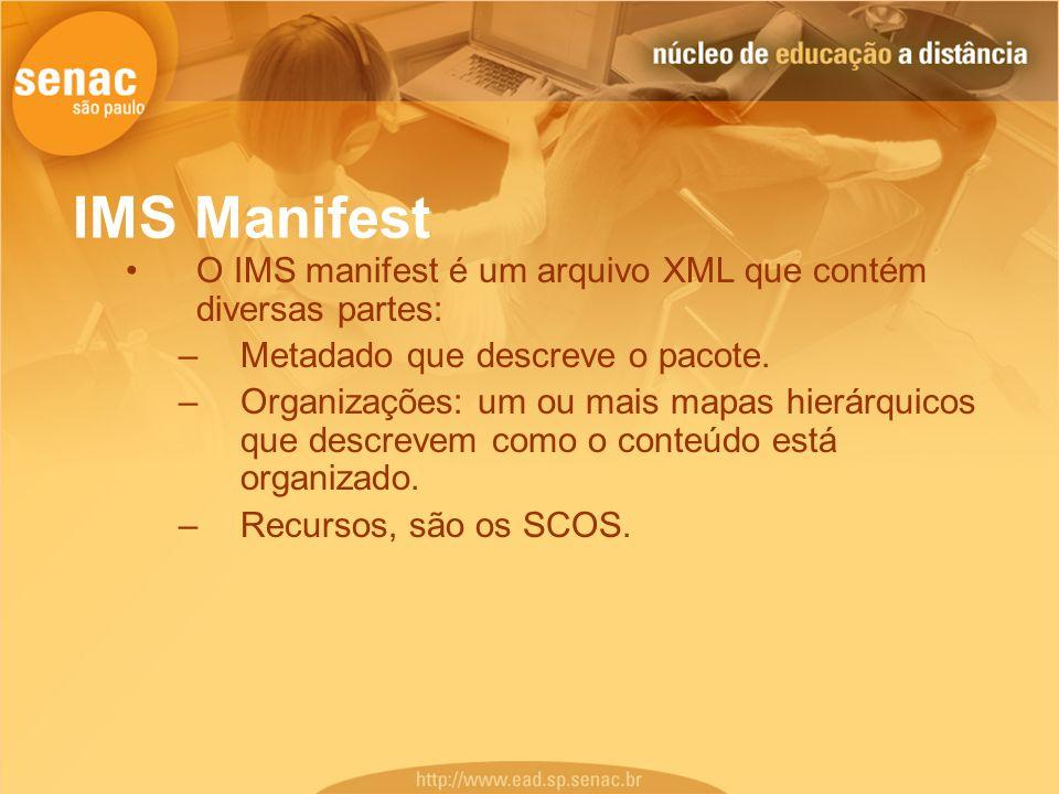 IMS Manifest O IMS manifest é um arquivo XML que contém diversas partes: –Metadado que descreve o pacote. –Organizações: um ou mais mapas hierárquicos