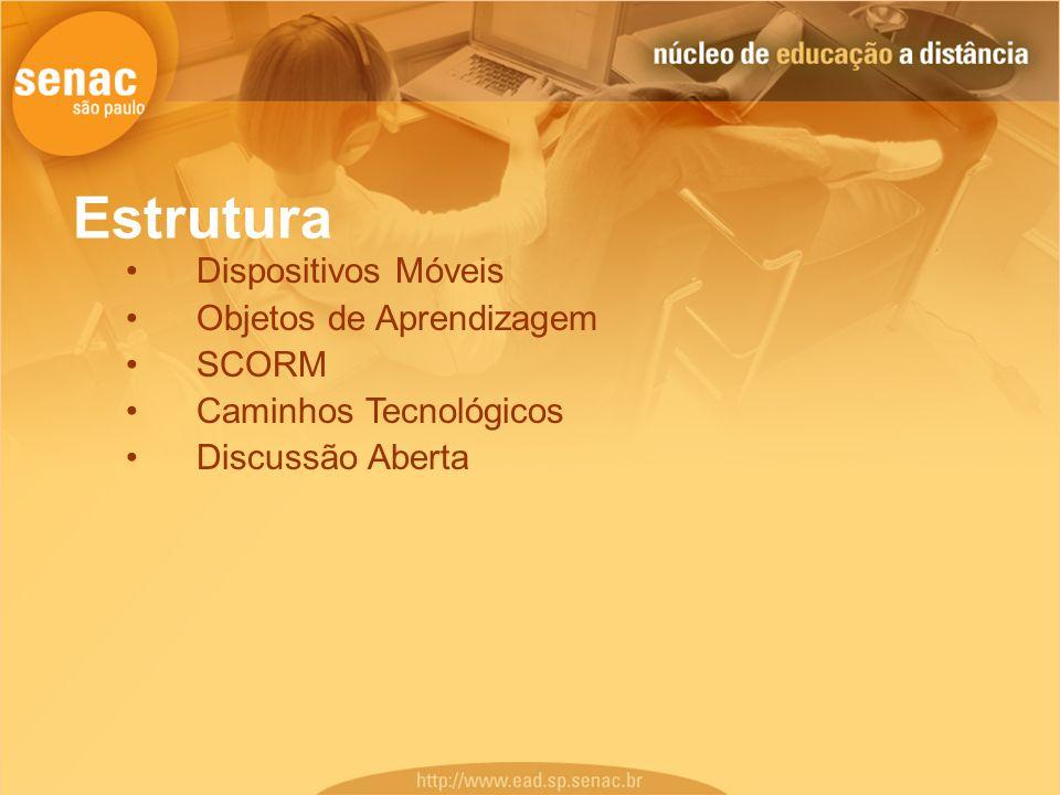 Estrutura Dispositivos Móveis Objetos de Aprendizagem SCORM Caminhos Tecnológicos Discussão Aberta
