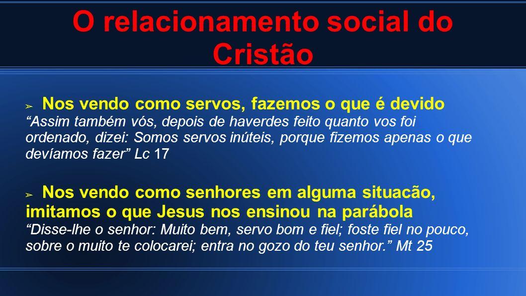 O relacionamento social do Cristão Nos vendo como servos, fazemos o que é devido Assim também vós, depois de haverdes feito quanto vos foi ordenado, d