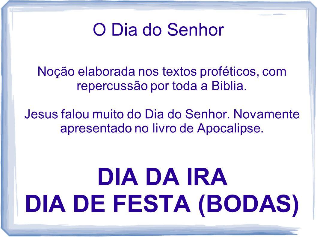 O Dia do Senhor Noção elaborada nos textos proféticos, com repercussão por toda a Biblia. Jesus falou muito do Dia do Senhor. Novamente apresentado no
