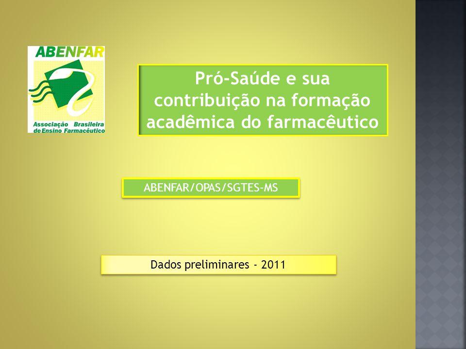 Pró-Saúde e sua contribuição na formação acadêmica do farmacêutico ABENFAR/OPAS/SGTES-MS Dados preliminares - 2011