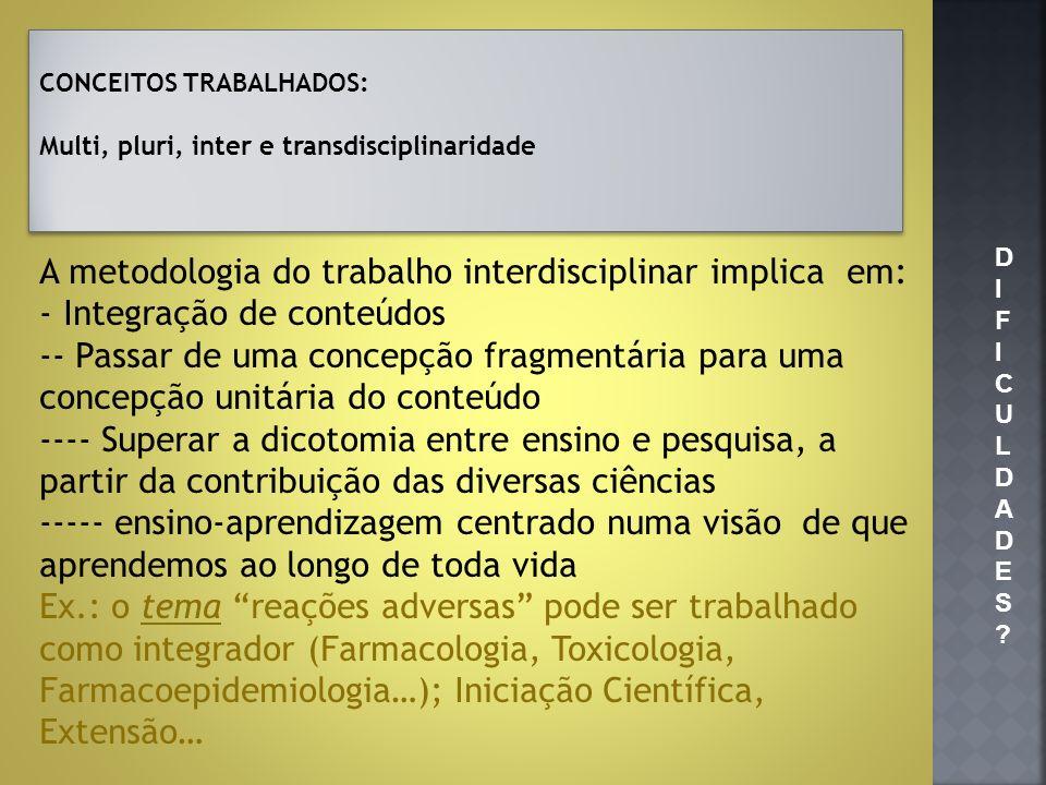 CONCEITOS TRABALHADOS: Multi, pluri, inter e transdisciplinaridade CONCEITOS TRABALHADOS: Multi, pluri, inter e transdisciplinaridade A metodologia do