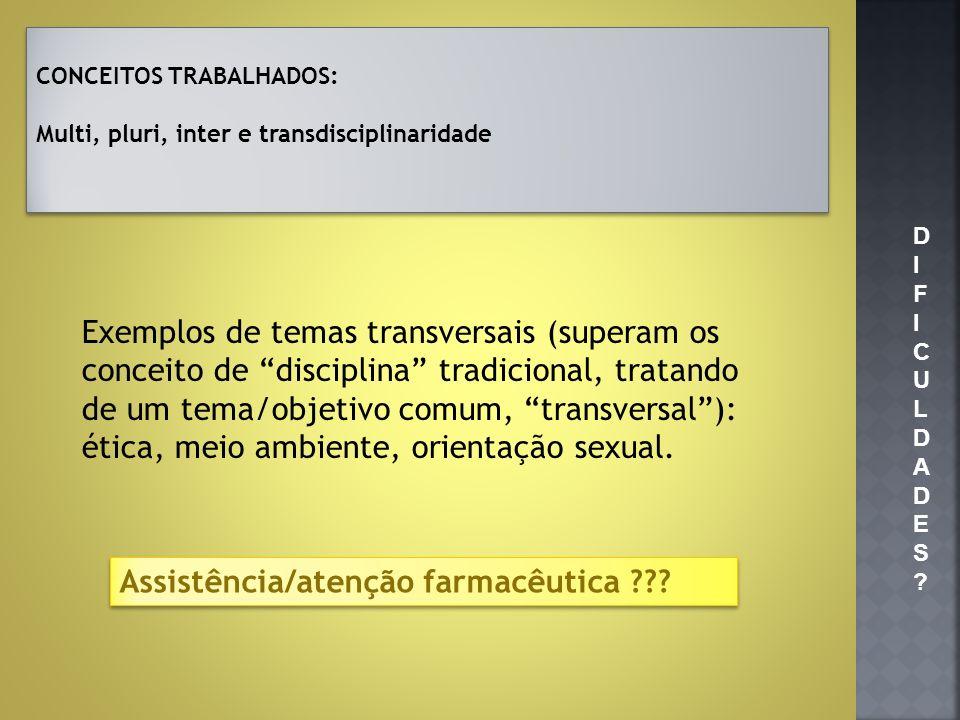 Exemplos de temas transversais (superam os conceito de disciplina tradicional, tratando de um tema/objetivo comum, transversal): ética, meio ambiente,