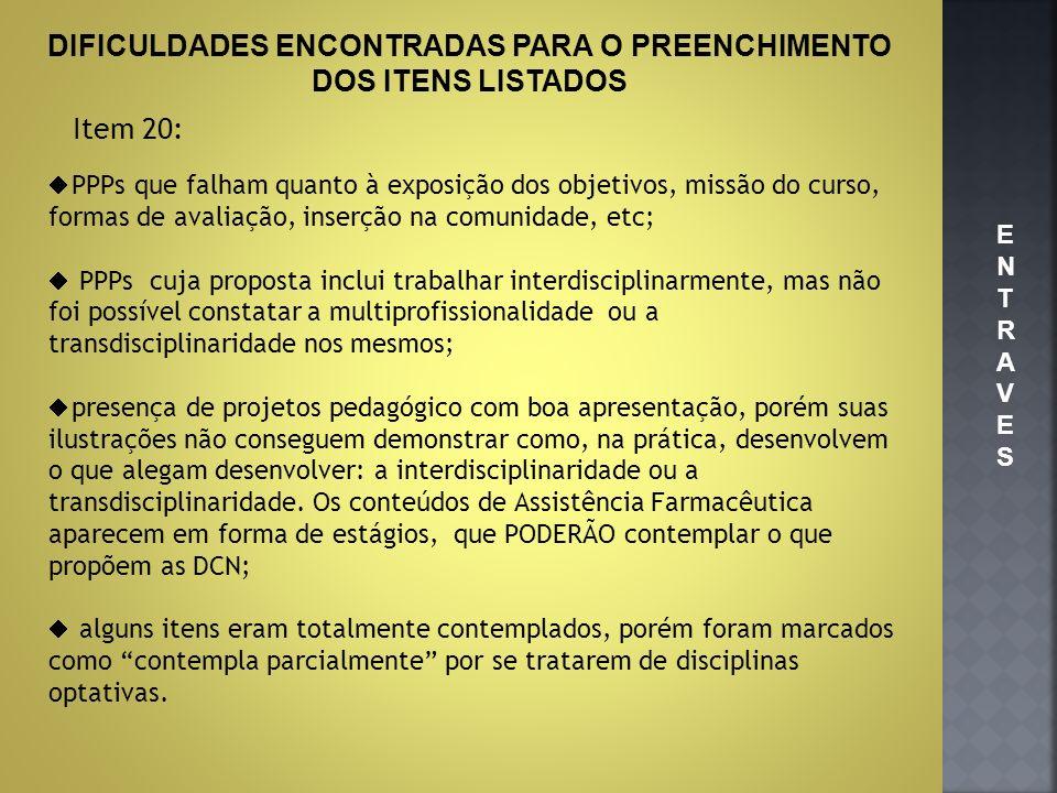 DIFICULDADES ENCONTRADAS PARA O PREENCHIMENTO DOS ITENS LISTADOS Item 20: PPPs que falham quanto à exposição dos objetivos, missão do curso, formas de
