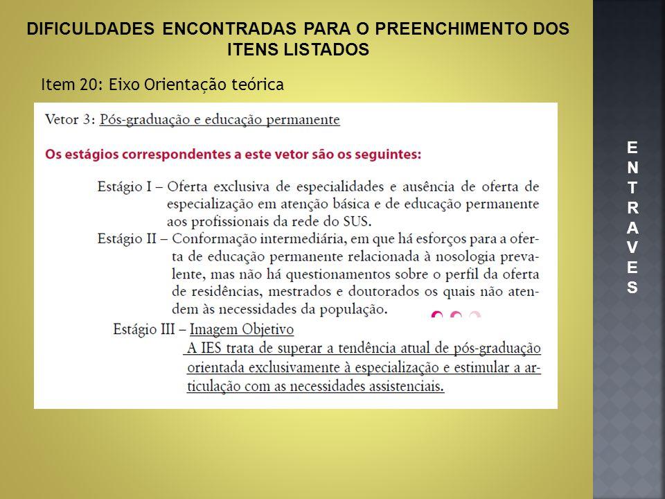 DIFICULDADES ENCONTRADAS PARA O PREENCHIMENTO DOS ITENS LISTADOS Item 20: Eixo Orientação teórica ENTRAVESENTRAVES