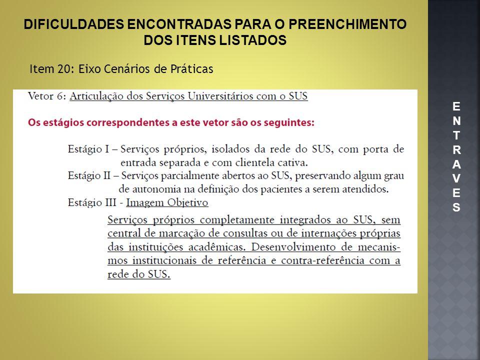 DIFICULDADES ENCONTRADAS PARA O PREENCHIMENTO DOS ITENS LISTADOS Item 20: Eixo Cenários de Práticas ENTRAVESENTRAVES