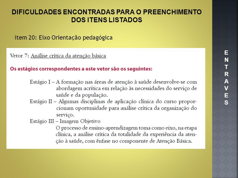 DIFICULDADES ENCONTRADAS PARA O PREENCHIMENTO DOS ITENS LISTADOS Item 20: Eixo Orientação pedagógica ENTRAVESENTRAVES