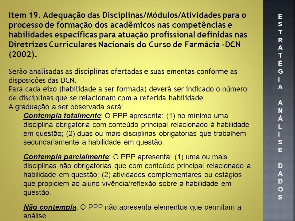 Item 19. Adequação das Disciplinas/Módulos/Atividades para o processo de formação dos acadêmicos nas competências e habilidades específicas para atuaç