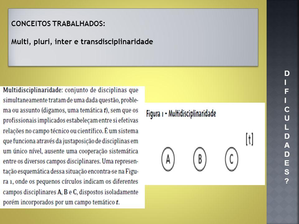 DIFICULDADES?DIFICULDADES? CONCEITOS TRABALHADOS: Multi, pluri, inter e transdisciplinaridade CONCEITOS TRABALHADOS: Multi, pluri, inter e transdiscip