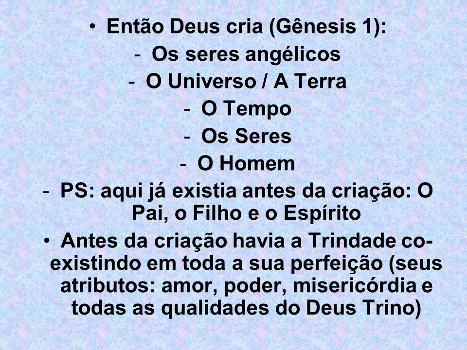 Então Deus cria (Gênesis 1): -Os seres angélicos -O Universo / A Terra -O Tempo -Os Seres -O Homem -PS: aqui já existia antes da criação: O Pai, o Fil