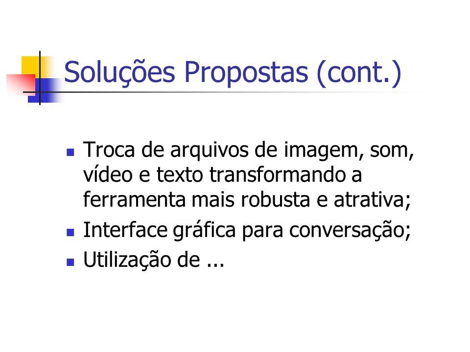 Soluções Propostas (cont.) Troca de arquivos de imagem, som, vídeo e texto transformando a ferramenta mais robusta e atrativa; Interface gráfica para