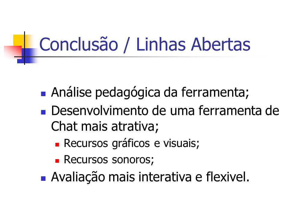 Conclusão / Linhas Abertas Análise pedagógica da ferramenta; Desenvolvimento de uma ferramenta de Chat mais atrativa; Recursos gráficos e visuais; Rec