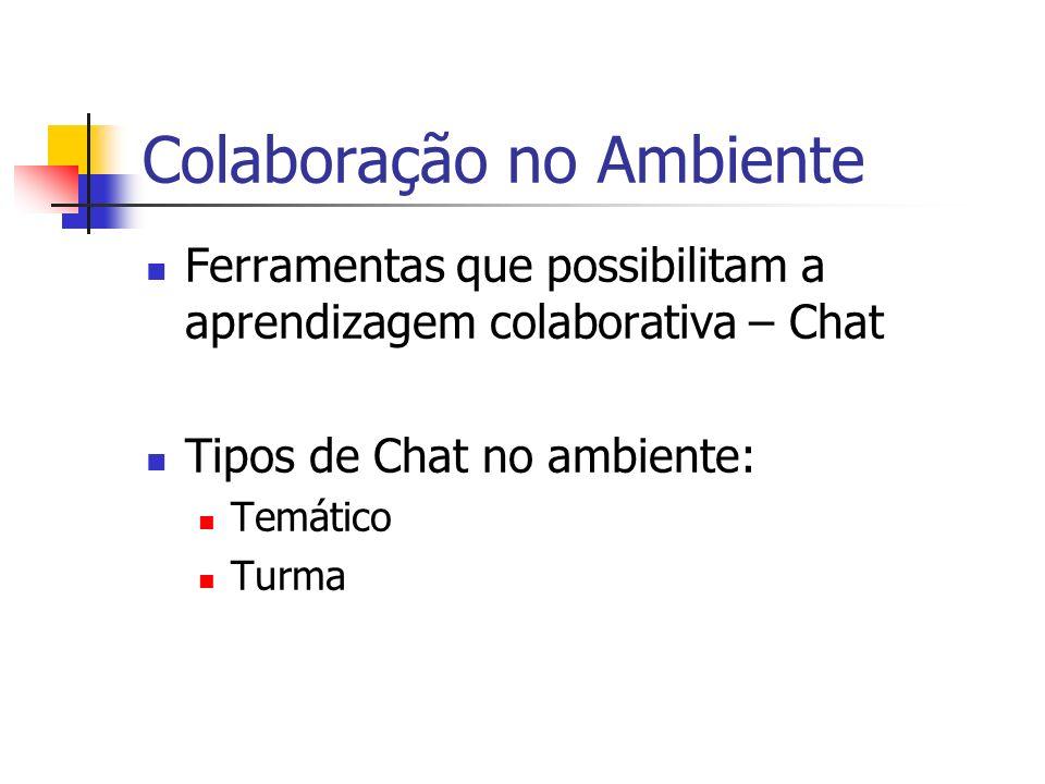 Colaboração no Ambiente Ferramentas que possibilitam a aprendizagem colaborativa – Chat Tipos de Chat no ambiente: Temático Turma