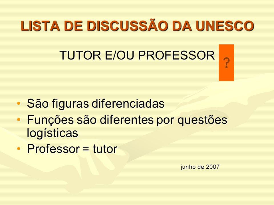 LISTA DE DISCUSSÃO DA UNESCO TUTOR E/OU PROFESSOR São figuras diferenciadasSão figuras diferenciadas Funções são diferentes por questões logísticasFun