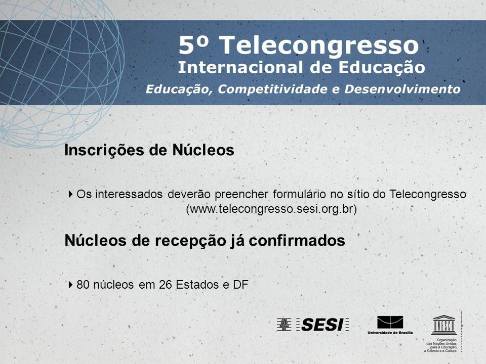 Inscrições de Núcleos Os interessados deverão preencher formulário no sítio do Telecongresso (www.telecongresso.sesi.org.br) Núcleos de recepção já confirmados 80 núcleos em 26 Estados e DF