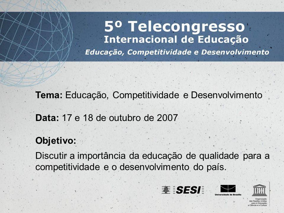 Inscrições de participantes As inscrições serão efetuadas no sítio do Telecongresso Valores Profissionais: R$ 30,00 Estudantes: R$ 15,00 Profissionais do Sistema Indústria e Parceiros: R$ 15,00