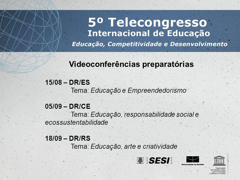 Videoconferências preparatórias 15/08 – DR/ES Tema: Educação e Empreendedorismo 05/09 – DR/CE Tema: Educação, responsabilidade social e ecossustentabilidade 18/09 – DR/RS Tema: Educação, arte e criatividade