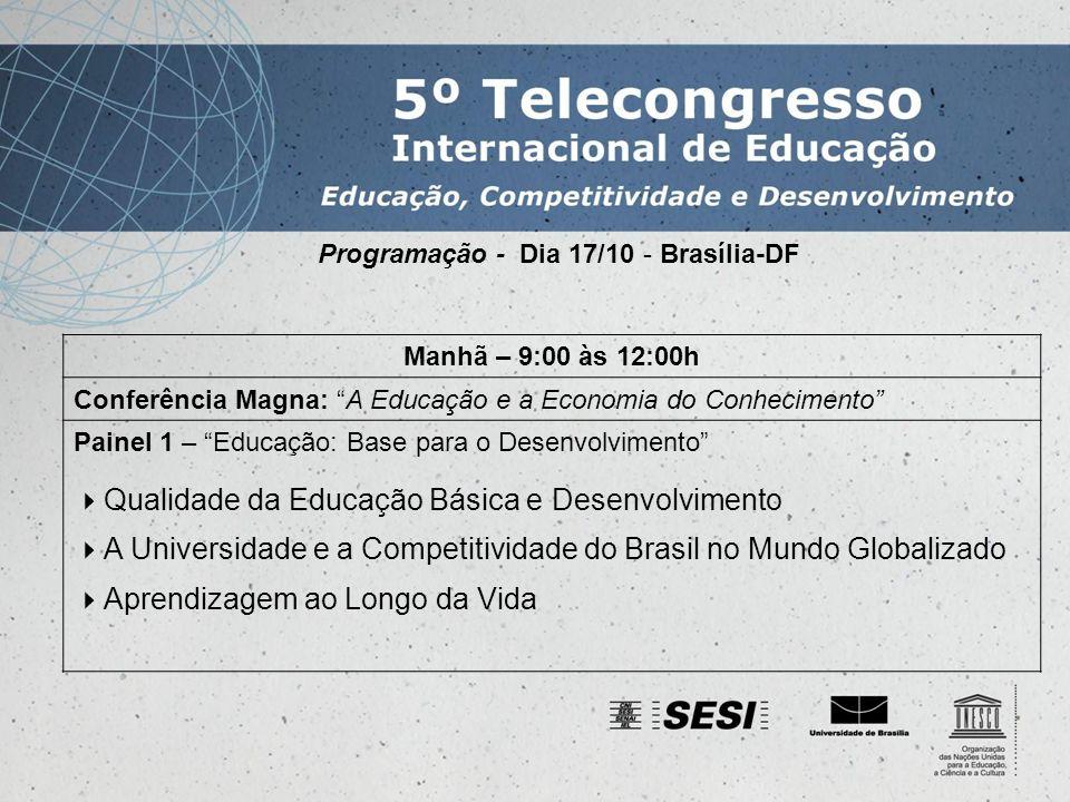 Programação - Dia 17/10 - Brasília-DF Tarde – 14:00 às 17:00h Conferência: Criatividade e Inovação na Sociedade Globalizada Painel 2 – Educação, Criatividade e Inovação O Papel da Escola no Desenvolvimento da Criatividade Educação Superior e Inovação Criatividade e Inovação na Perspectiva de Educação Continuada Apresentação presencial de trabalhos regionais – 17:00 às 18:00