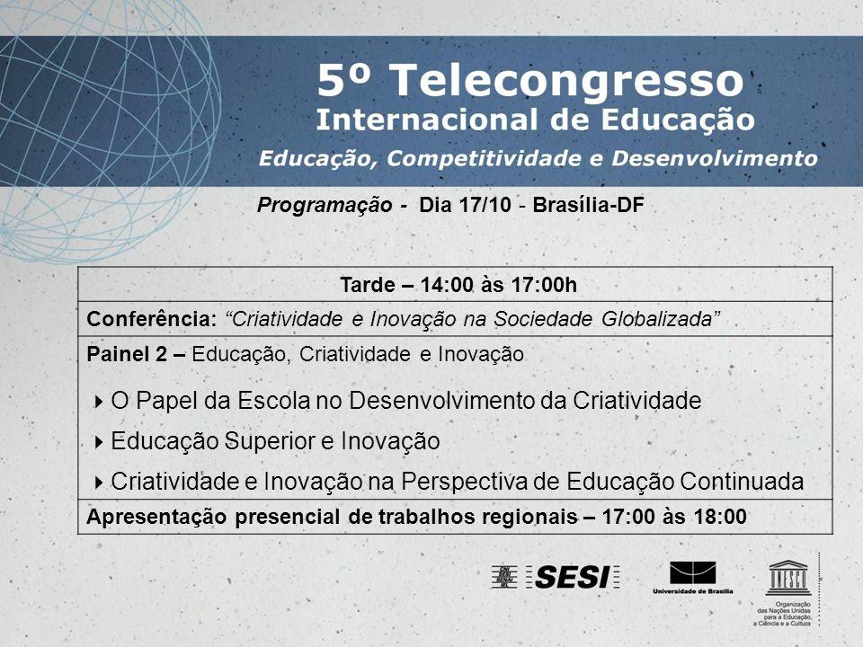 Programação - Dia 18/10 - São Paulo - SP Manhã – 9:00 às 12:00h Conferência: Empreendedorismo, educação e desenvolvimento Painel 3 – Competências para formação de empreendedores Educação e o Desenvolvimento da Cultura Empreendedora Formação Empreendedora na Universidade Aprender a Empreender: Uma Prática Continuada