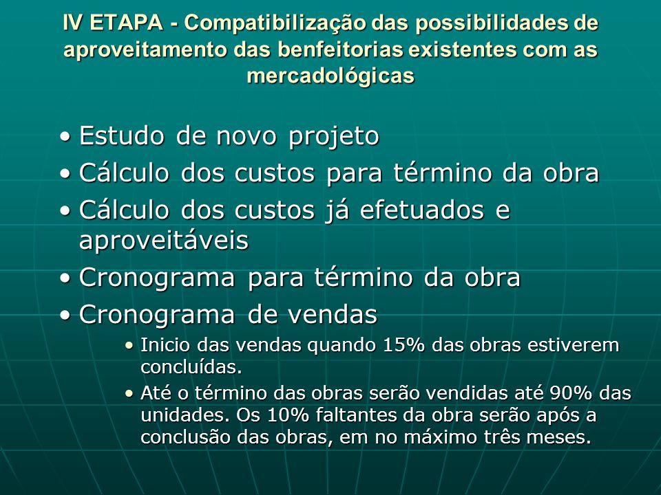IV ETAPA - Compatibilização das possibilidades de aproveitamento das benfeitorias existentes com as mercadológicas Estudo de novo projetoEstudo de nov