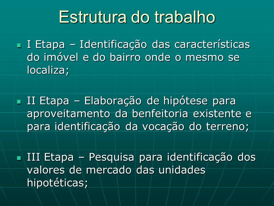 Estrutura do trabalho I Etapa – Identificação das características do imóvel e do bairro onde o mesmo se localiza; I Etapa – Identificação das caracter